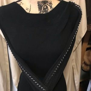 Sexy sweater soft ribbed chain sewn into  sleeves